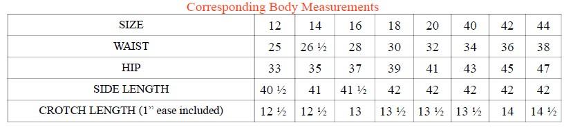 Corresponding Body Measurements