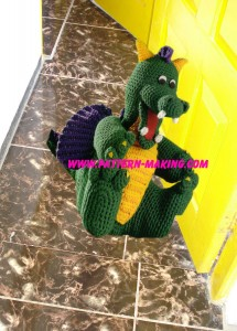 Crochet Dragon Doorstop-1