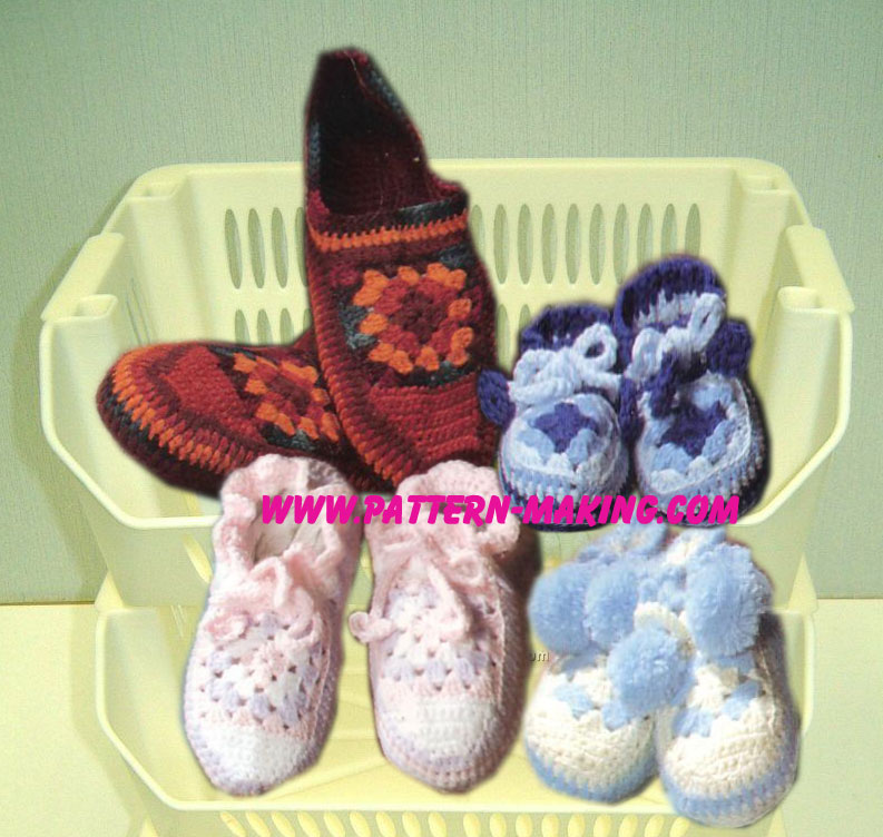 Crochet Pattern For Granny Square Slippers : Granny Square Crochet Slippers Pattern-Making.com