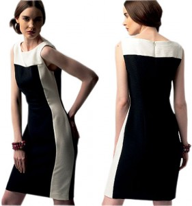 Kay Unger Black and White two tone dress-1