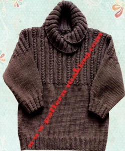 Sweater with Ribbed Yoke-1