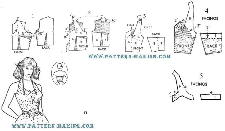 How to Draft Halter back Dress | Pattern-Making.com